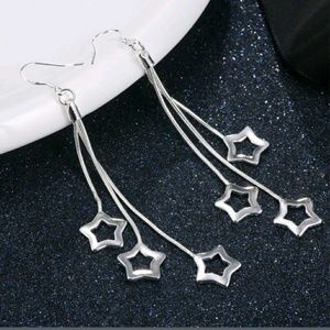 3 star dangle earrings silver